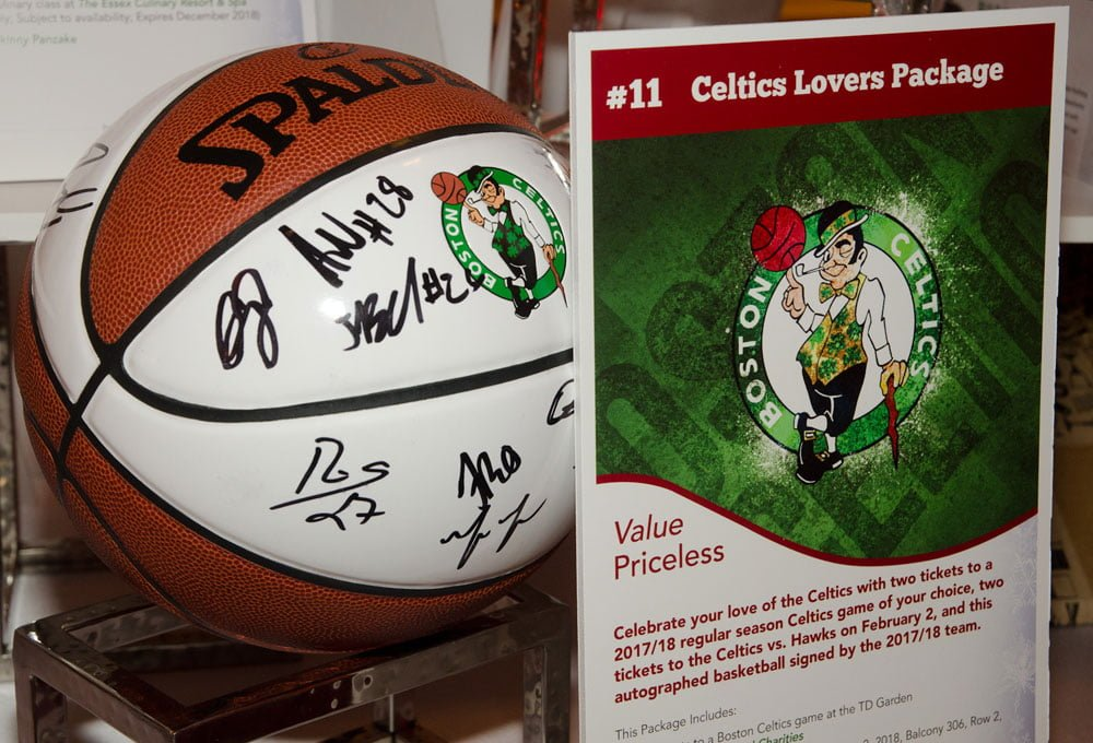Attendees could bid on a Celtics package including game tickets and a ball signed by the 2017/2018 team.