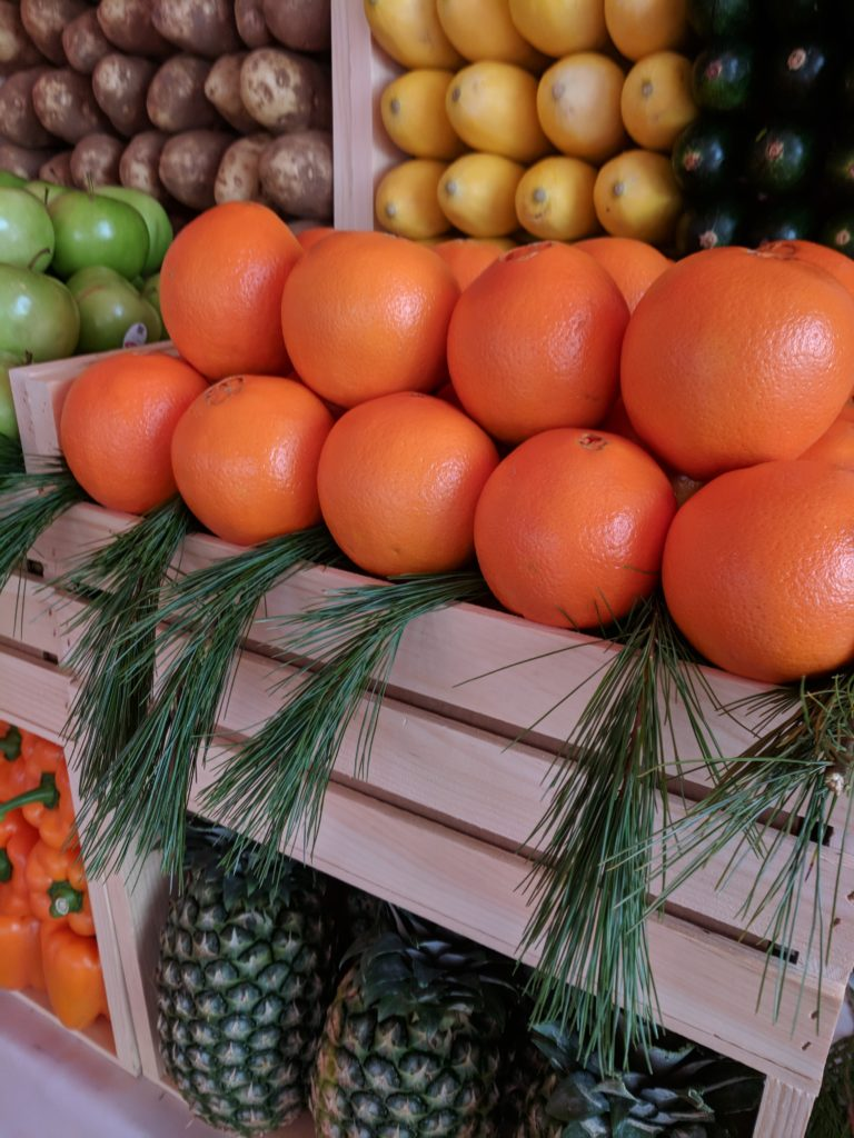 Detail of the Fruit Center Marketplace display, all of which was donated to Interfaith's food pantry after the event.