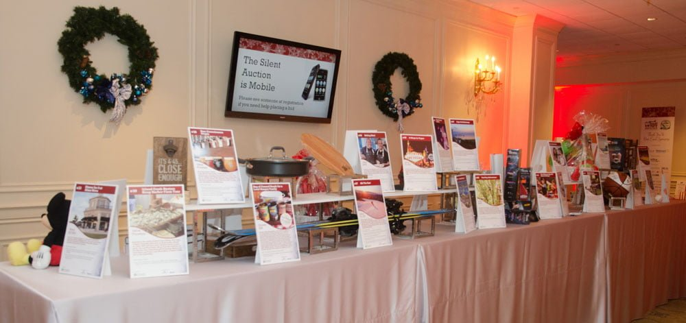 The silent auction table.