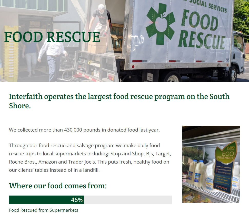 Website screenshot - Food Rescue