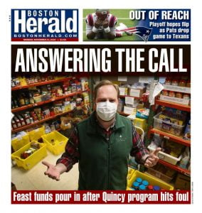 Boston Herald newspaper cover featuring Interfaith