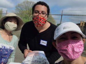 volunteers wearing face masks
