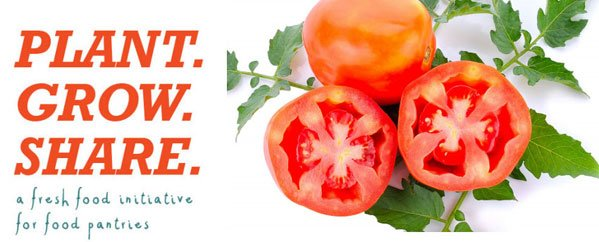 Plant Grow Share logo with tomatoes